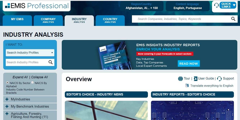 screenshot EMIS - Análise da concorrência