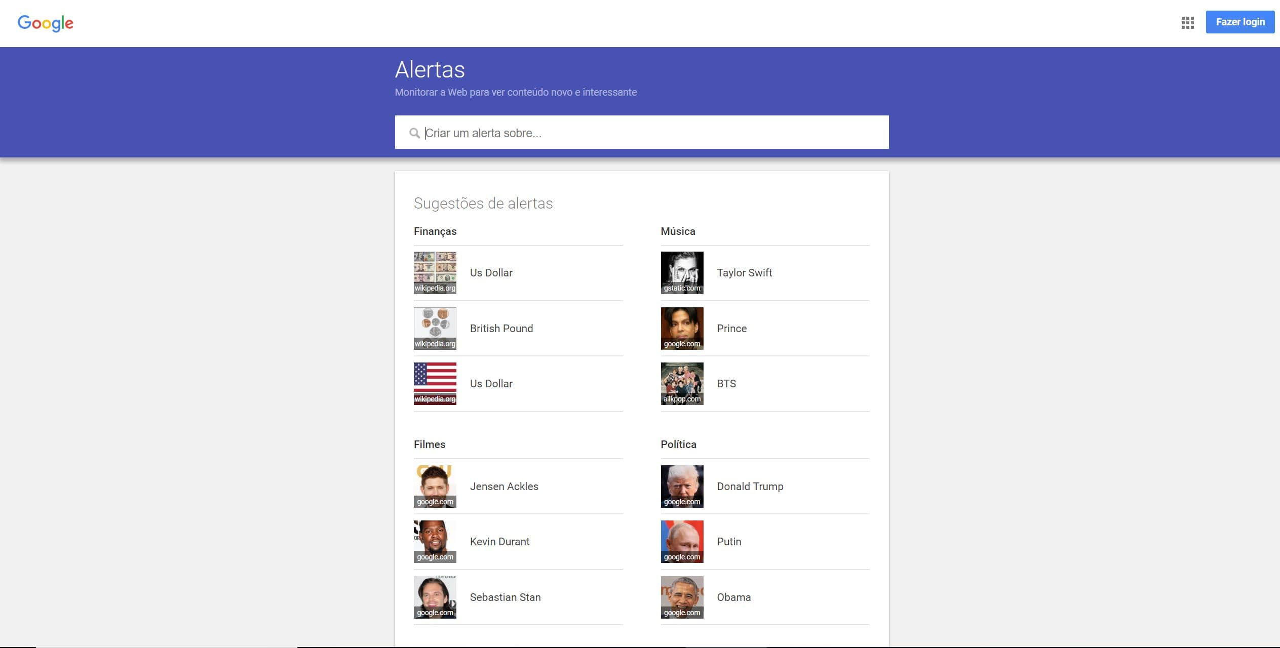 screenshot Google Alerts - Análise da concorrência