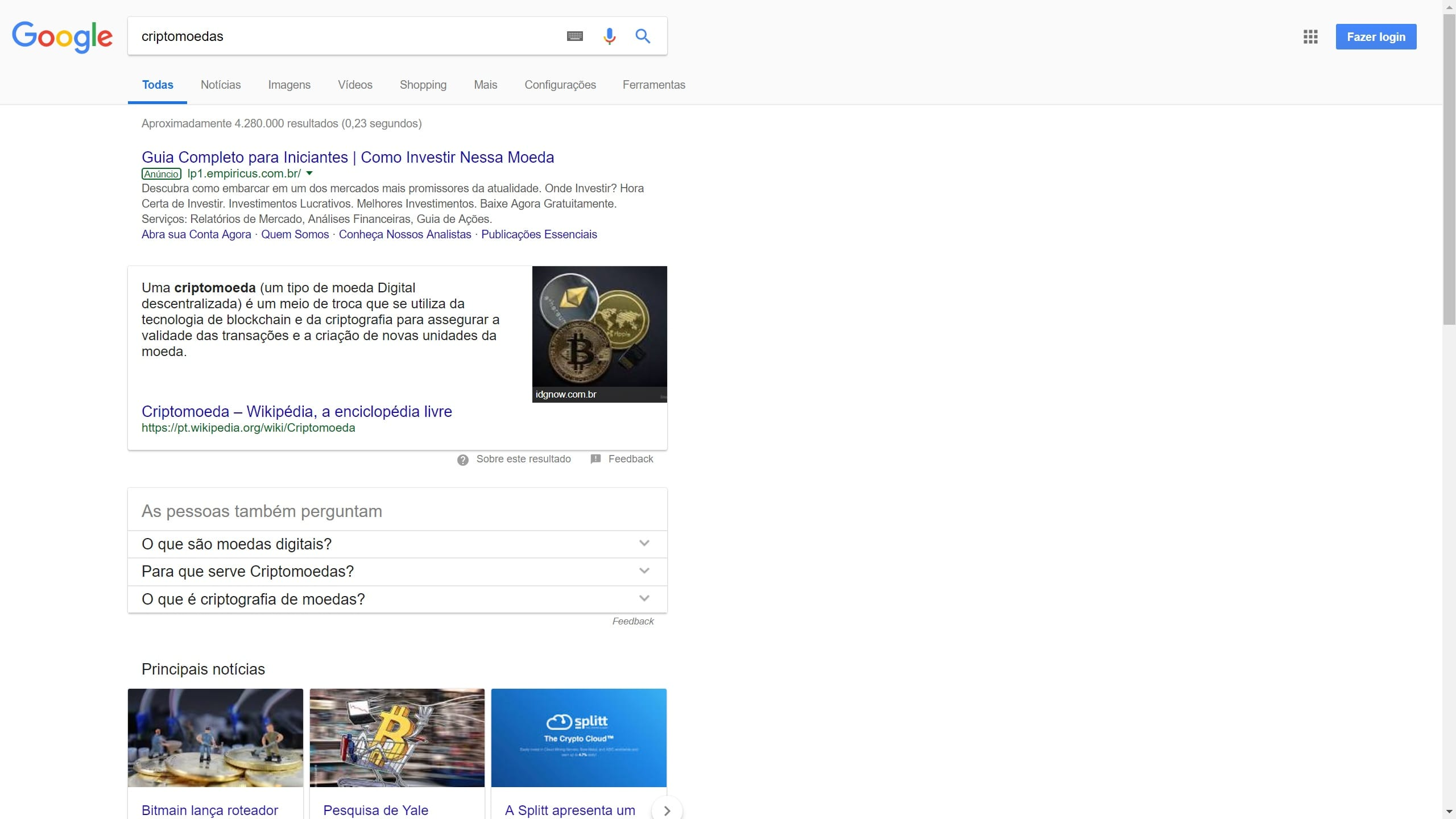 screenshot Google Search - Análise da concorrência